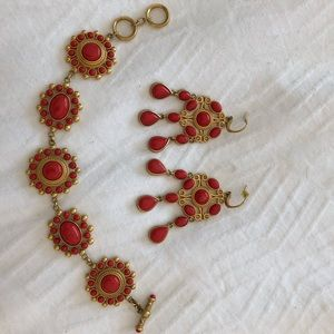 Carolee gold & faux coral bracelet and earring set